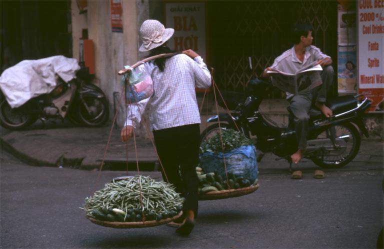 ...grise bag på motorcykler, friske fisk og skaldyr blev lagt i store...