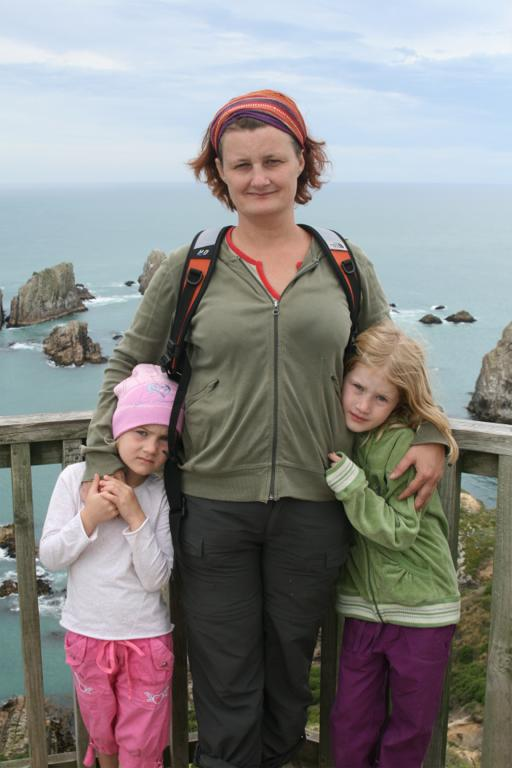 The girls and I at Nugget Point, New Zealand 2008